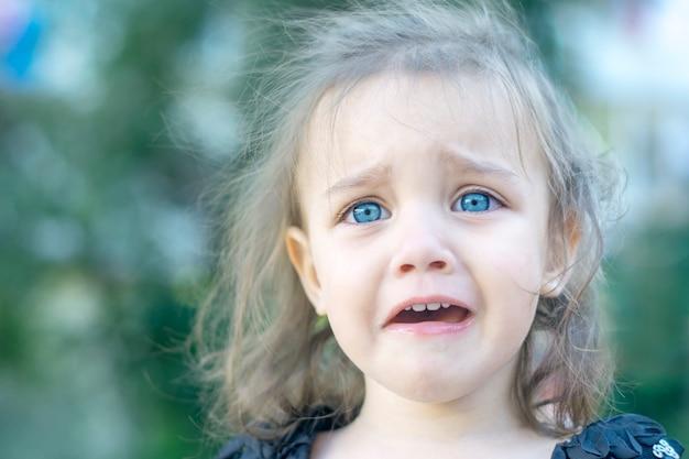 Een klein meisje met mooie blauwe ogen huilt hevig. kinderportret.