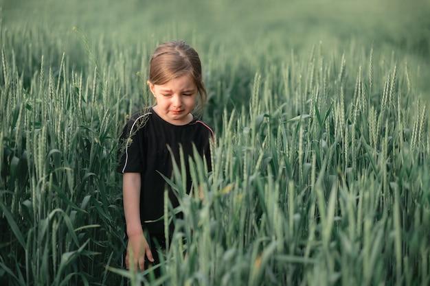 Een klein meisje niest en huilt van een allergie voor stuifmeel, loopt door een tarweveld en kijkt naar beneden.