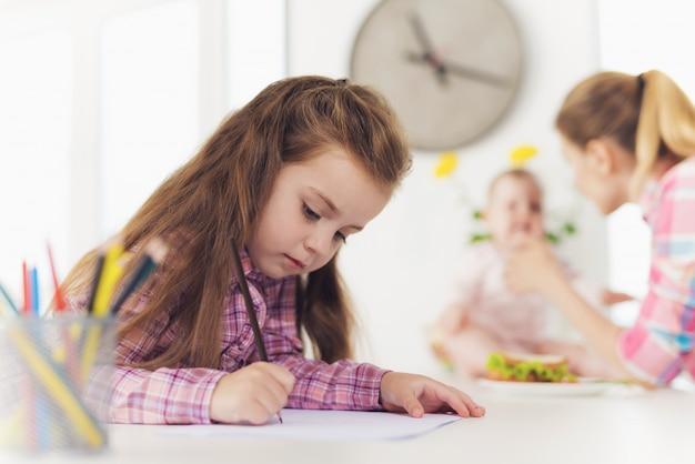 Een klein meisje tekent op het keukenblad met kleurpotloden.