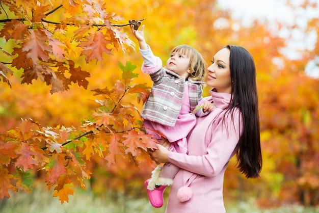 Een klein meisje trekt de eikels van de boom. moeder en dochter spelen in het herfstpark.