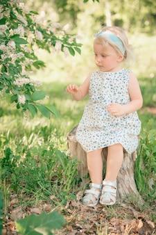 Een klein meisje zit op een boomstronk in een park in de buurt van een bloeiende appelboom. hoge kwaliteit foto