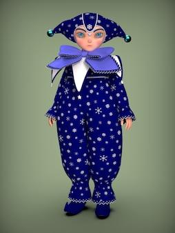Een kleine clown elf in een blauw pak. 3d illustratie