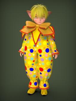Een kleine clown elf in een geel pak. 3d illustratie