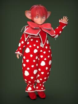 Een kleine clown elf in een rood pak. 3d illustratie