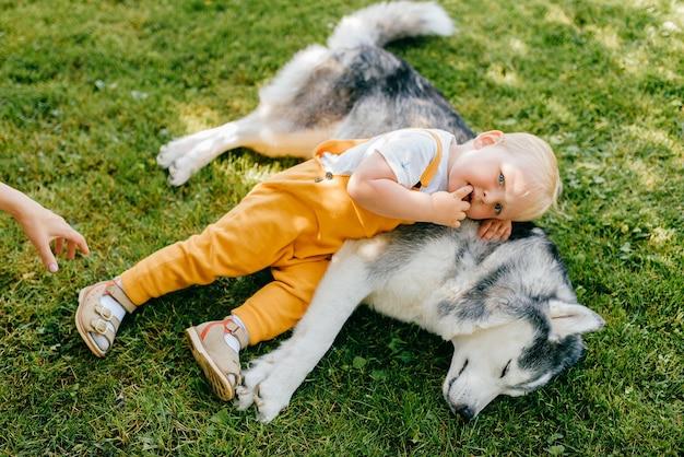 Een kleine jongen die met de hond op het gras ligt