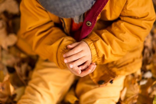 Een kleine jongen in een herfst park zit op gele bladeren in een gele jas en houdt een lieveheersbeestje in kinderhanden.