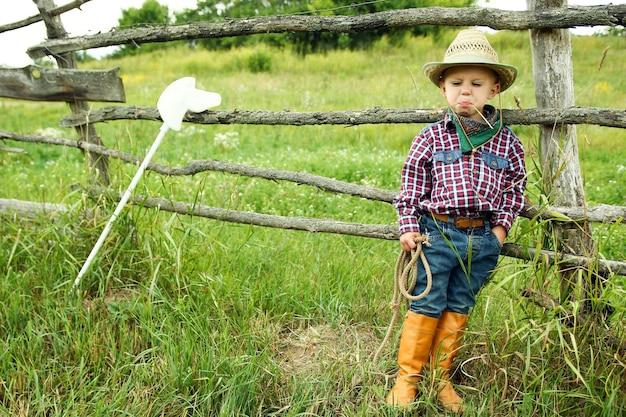 Een kleine jongenscowboy in hoed met touw en speelgoedpaard op de natuur