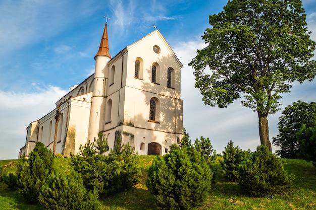 Een kleine kerk in het midden van het weelderige groene lentelandschap op een zonnige dag. kerk in litouwen.