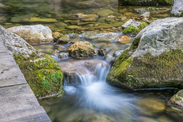 Een kleine schilderachtige rivier stroomt tussen de stenen in het bos.