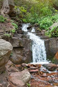 Een kleine schilderachtige waterval in het bos.