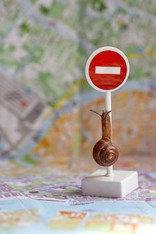 Een kleine slak met hoorns kruipt rond een verbiedend bord op de stadsplattegrond