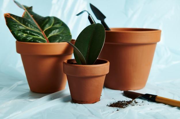 Een kleine tuinschep met verspreide aarde liggend op een transparante beschermfolie naast kleipotten van verschillende grootte met potplanten