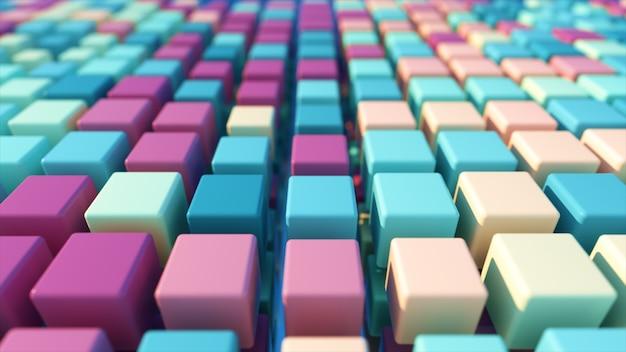 Een kleurrijk raster van driedimensionale bewegende kubussen