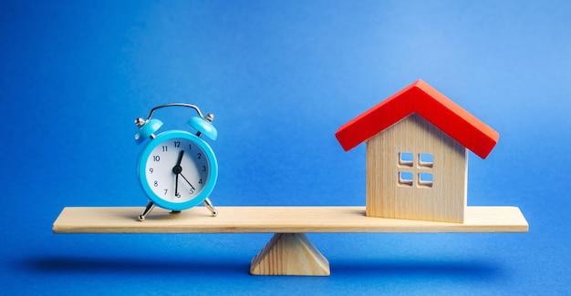 Een klok en een miniatuurhuis op de weegschaal