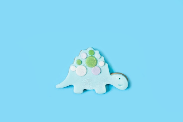 Een koekje in de vorm van een schildpad in een bovenaanzicht