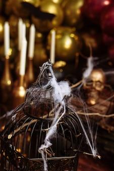 Een kooi met kunstmatige spinnenwebben