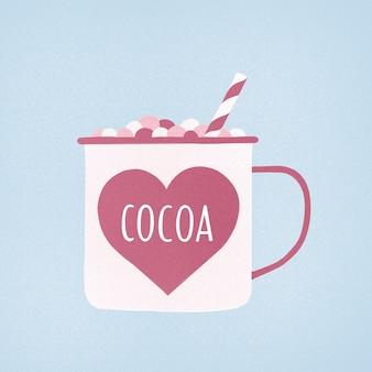 Een kopje cacao met marshmallows en een rietje in delicate roze en blauwe tintencacao met marshmallows