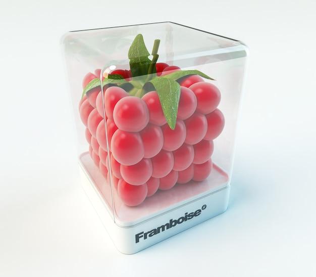 Een kubieke framboos in een vitrine met het woord framboise (frans)