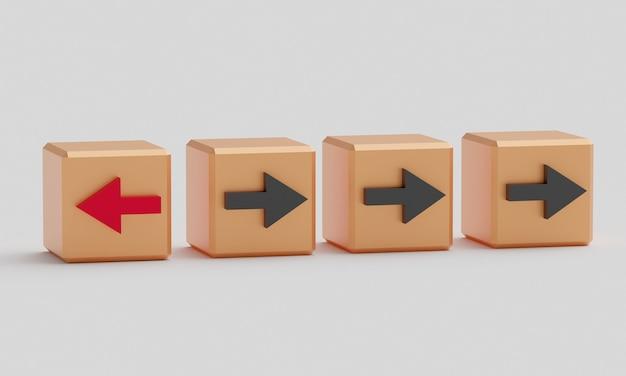 Een kubus met een rode pijl, de andere met een zwarte pijl