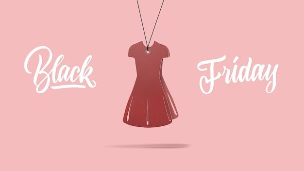 Een label in de vorm van de mode damesjurk gemaakt van karton op een paarse achtergrond. kalligrafische tekst is zwarte vrijdag. het concept van verkoop
