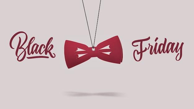 Een label in de vorm van de mode vlinderdas gemaakt van karton op een paarse achtergrond. kalligrafische tekst is zwarte vrijdag. het concept van verkoop