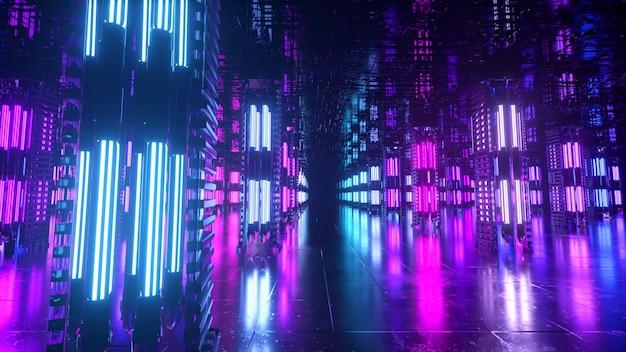 Een lange futuristische gang met een technologisch interieur. neonlicht beweegt snel vanaf het einde van de tunnel. sciencefiction kamer. naadloze loops 3d-animatie