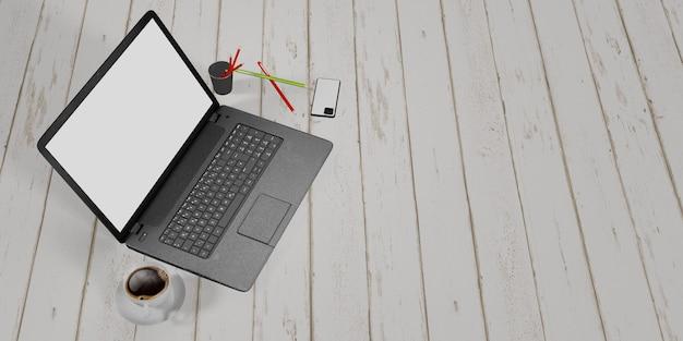Een laptop op een witte houten tafel met potlood, telefoon en koffiemok home work ideas leeg laptopscherm, 3d illustratie