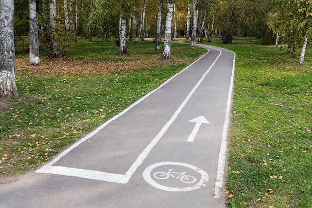 Een leeg geasfalteerd fietspad met een pictogram en een pijl in een openbaar stadspark verandert in een bos