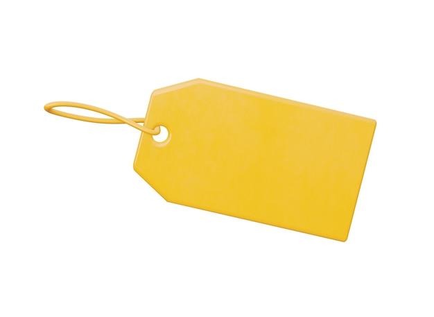 Een leeg plastic etiket zodat u uw prijs geel geïsoleerd op een witte achtergrond kunt zetten