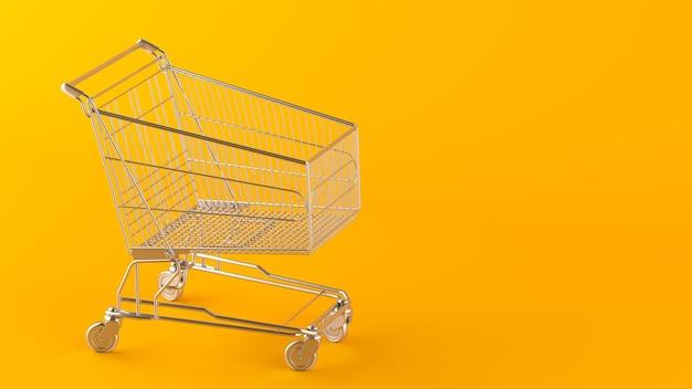 Een leeg winkelmandje parkeren op een gele achtergrond met een kopieerruimte. het thema van de winkel en winkelen, 3d render.