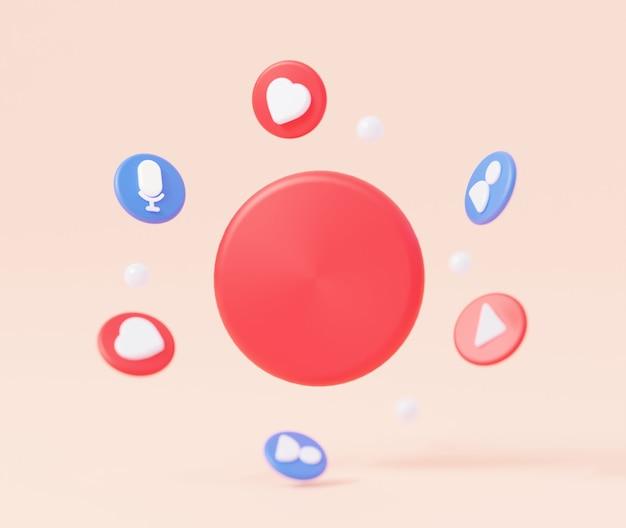 Een lege cirkel voor een logo of een invoeging voor tekst zoals pictogram videospeler 3d-rendering