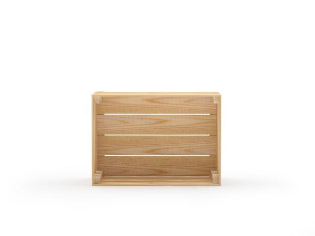 Een lege houten kist aan de zijkant