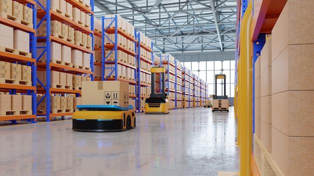 Een leger van robots die honderden pakketten per uur efficiënt sorteren (automatisch geleid voertuig) agv.3d-weergave