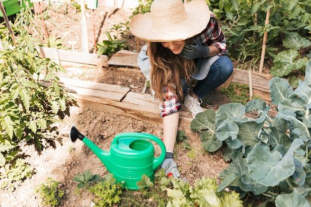 Een luchtmening van een glimlachende vrouwelijke holding gekweekte verse aardbei op installatie in de tuin