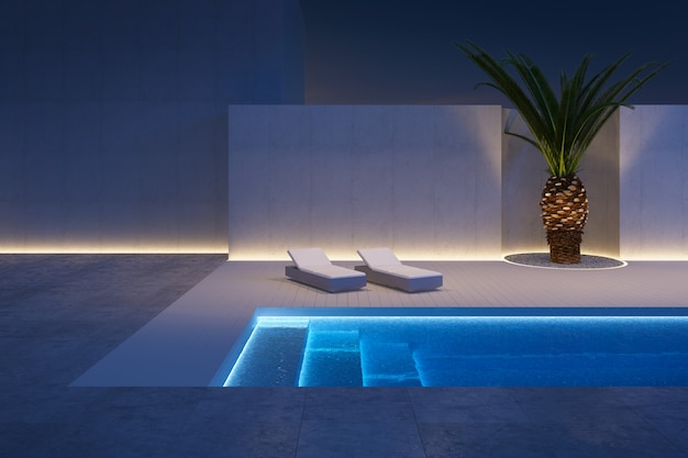 Een luxe moderne achtertuin met een zwembad, 3d-rendering