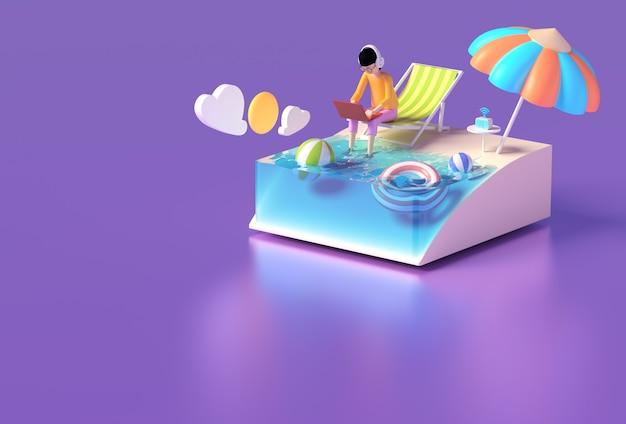 Een man aan het werk op een laptop op een strandstoel in de zomer.