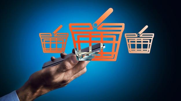 Een man doet online aankopen via de telefoon op een blauw