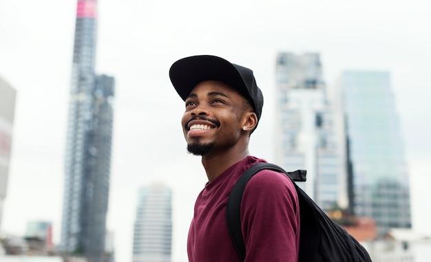 Een man in de stad mode-shoot