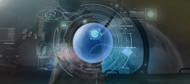 Een man in een ruimtepak bestudeert gegevens uit futuristische grafieken 3d render
