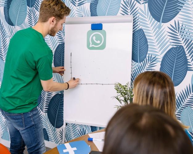Een man in groene t-shirt tekening whatsup grafiek op flipchart