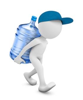 Een man met een fles gezuiverd water om te drinken