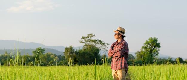 Een man met zwarte bril kijkt naar het rijstveld, vouw over en draag shirts met lange mouwen