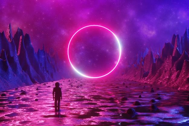 Een man staat op het oppervlak van een buitenaardse planeet met neon cirkel