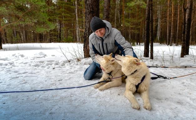 Een man zit naast een slee met siberische husky's.