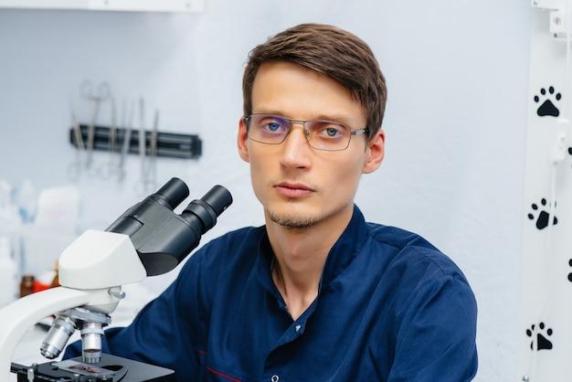 Een mannelijke arts in het laboratorium bestudeert virussen en bacteriën onder een microscoop.