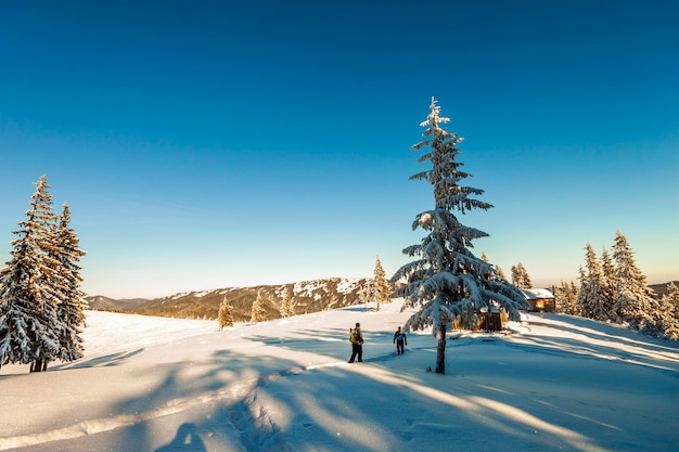 Een mannelijke bergbeklimmers die op een gletsjer lopen. bergbeklimmers op een besneeuwde berg in een zonnige winterdag.