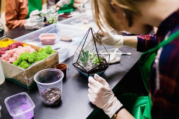 Een masterclass in het planten van cactussen en sukkulentov in de vorm van glas