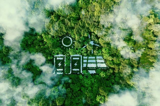 Een meer in de vorm van een zonne-, wind- en energieopslagsysteem midden in een weelderig bos als metafoor voor het concept van schone en organische hernieuwbare energie. 3d-rendering.