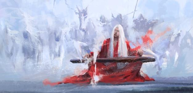Een meester van de wereld die de guqin-illustratie speelt.