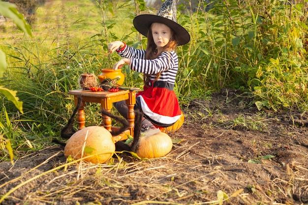 Een meisje in een gestreepte jurk en een zwarte hoed kookt een drankje. in de buurt zijn pompoenen. halloween.